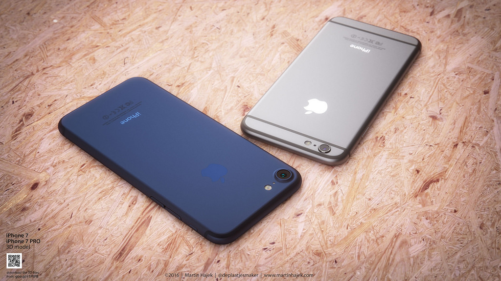 Concepto de diseño de iPhone 7 azul de Martin Hajek
