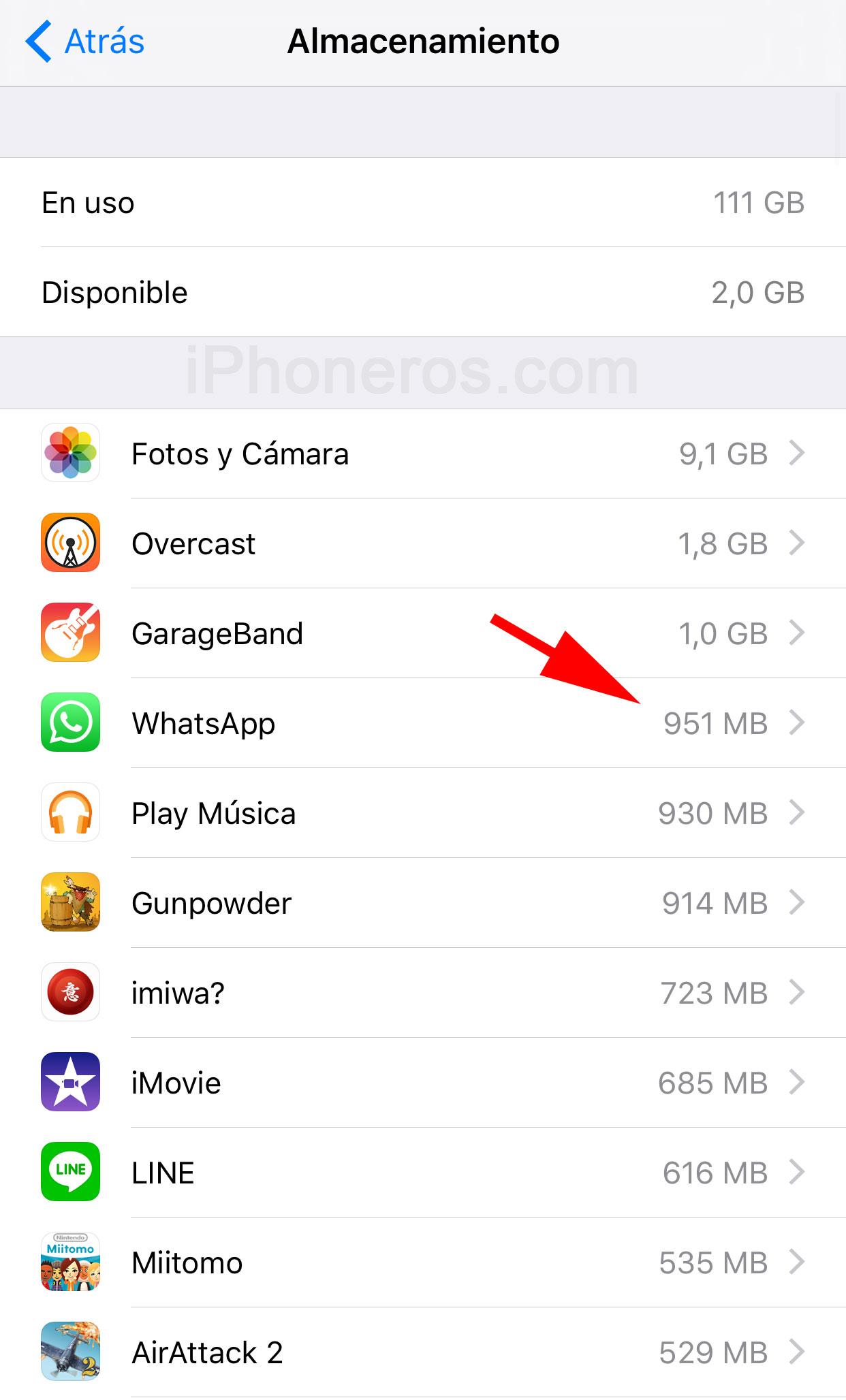 Espacio de almacenamiento utilizado en el iPhone