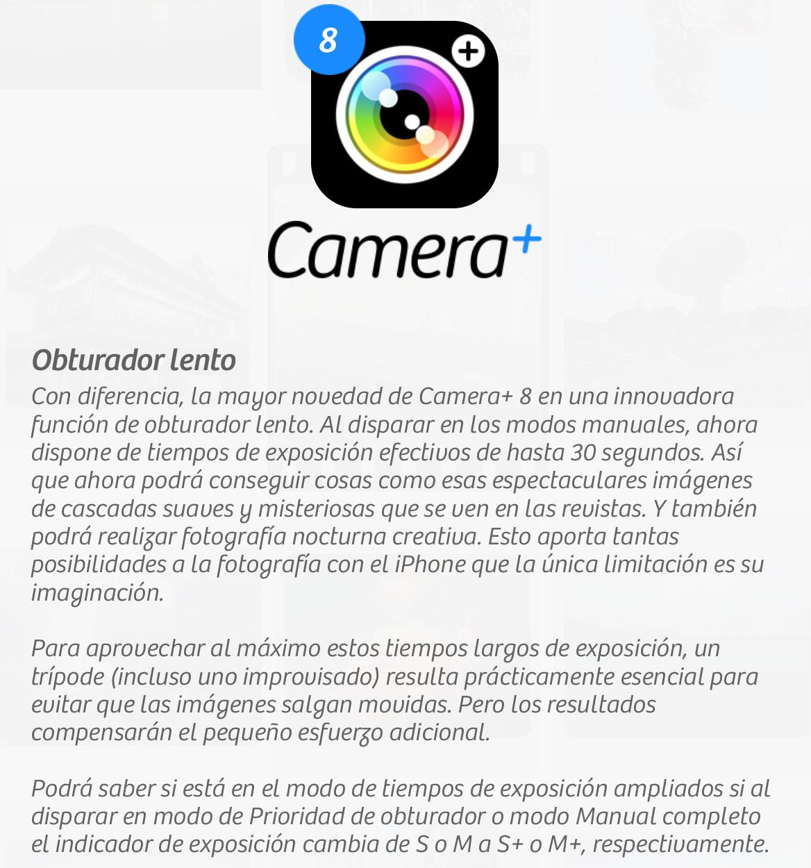 Camera+ explica el modo de larga exposición