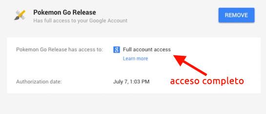 Acceso completo de Pokemon Go a una cuenta de Google