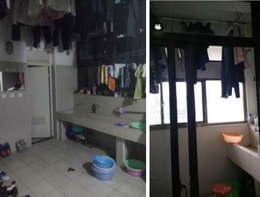 Ropa colgada del techo en los dormitorios de la residencia de trabajadores de Pegatron