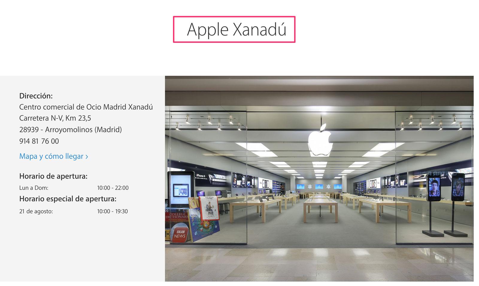 Página de Apple Xanadú