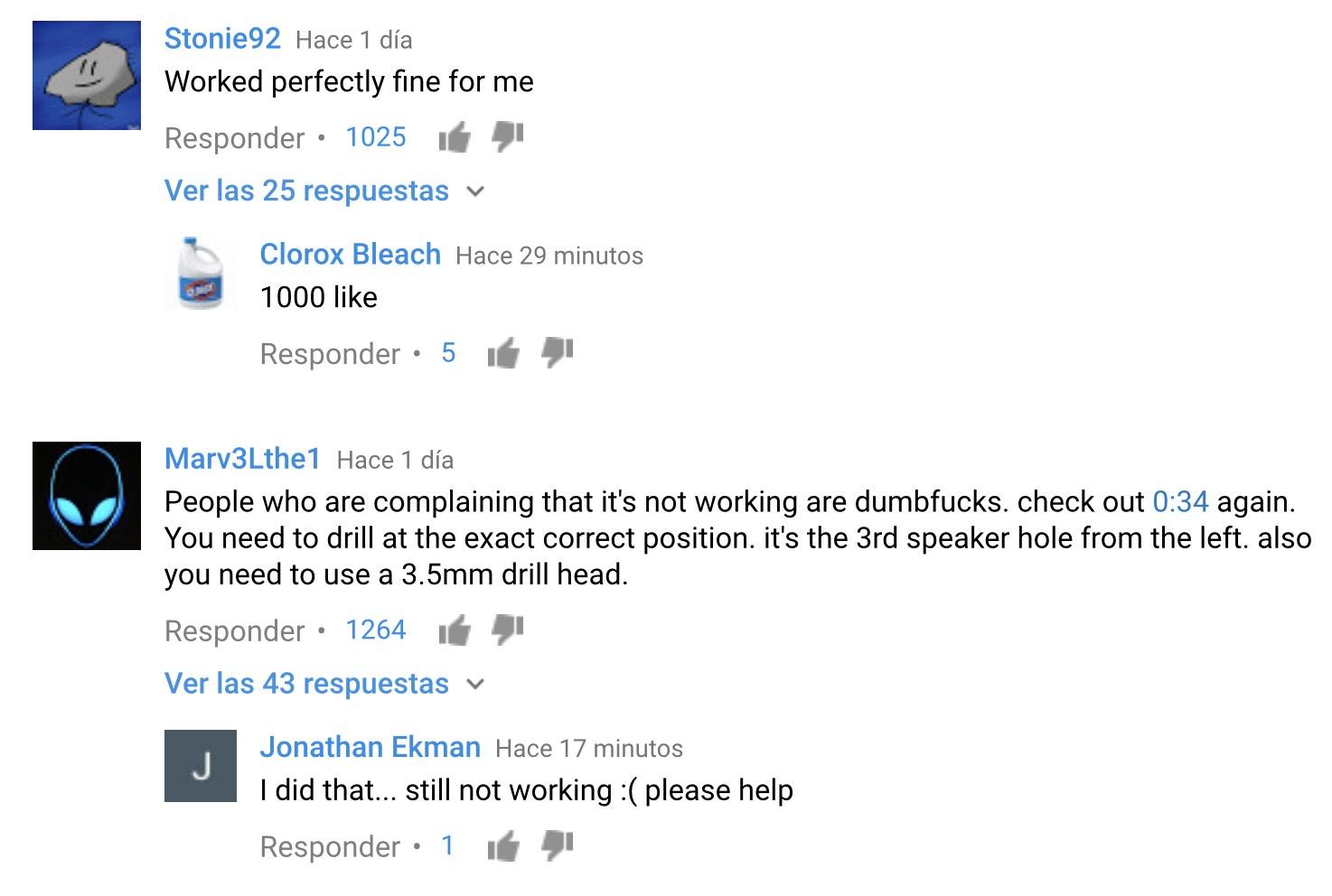 Comentarios trolleando en Youtube