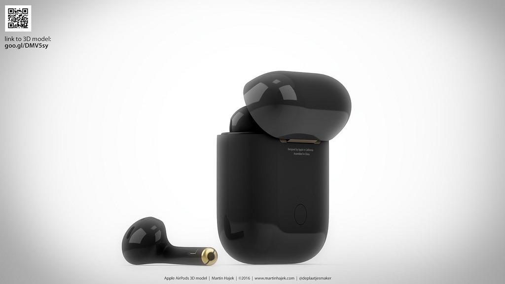 AirPods de color negro (concepto de diseño de Martin Hajek)