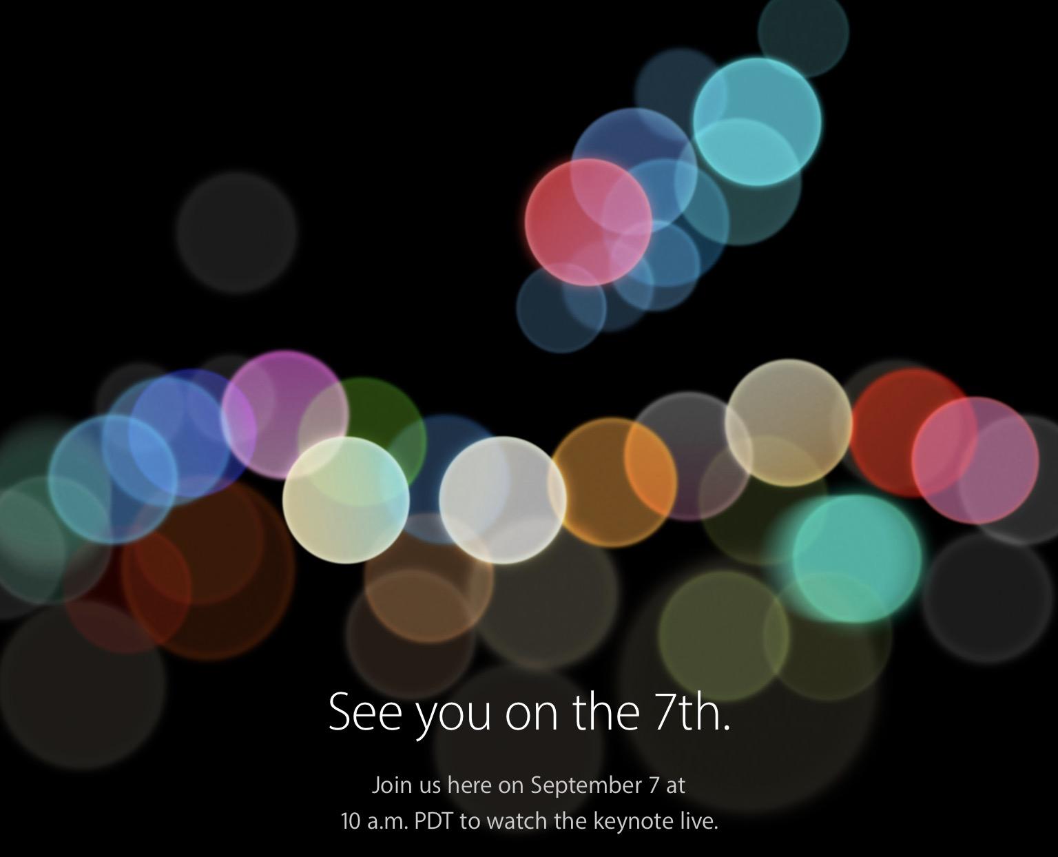 Invitación de la Keynote de presentación del iPhone 7
