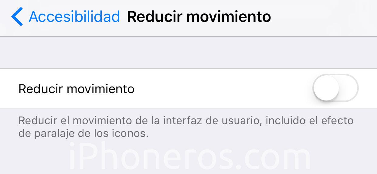 Ajuste para Reducir el movimiento en iOS