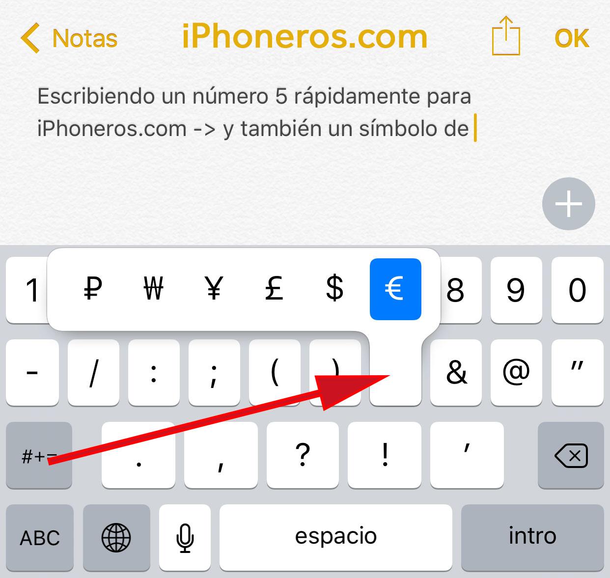 Teclado virtual numérico de iOS