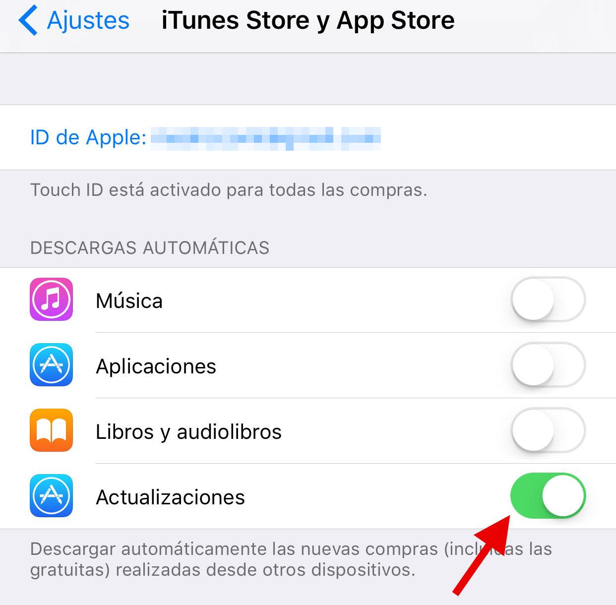Actualizaciones automáticas de Apps en la App de Ajustes