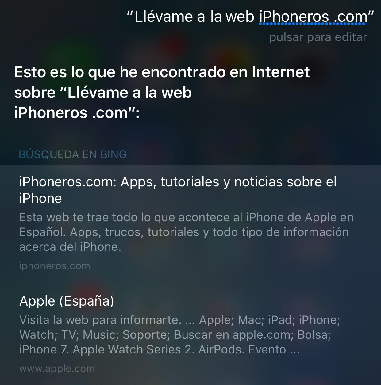 Siri no es capaz de identificar webs