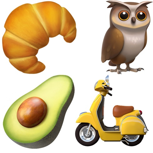 Emojis de aguacate, búho, moto y croissant