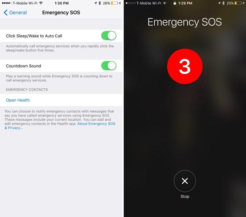 Llamadas de emergencia en iOS 10.2