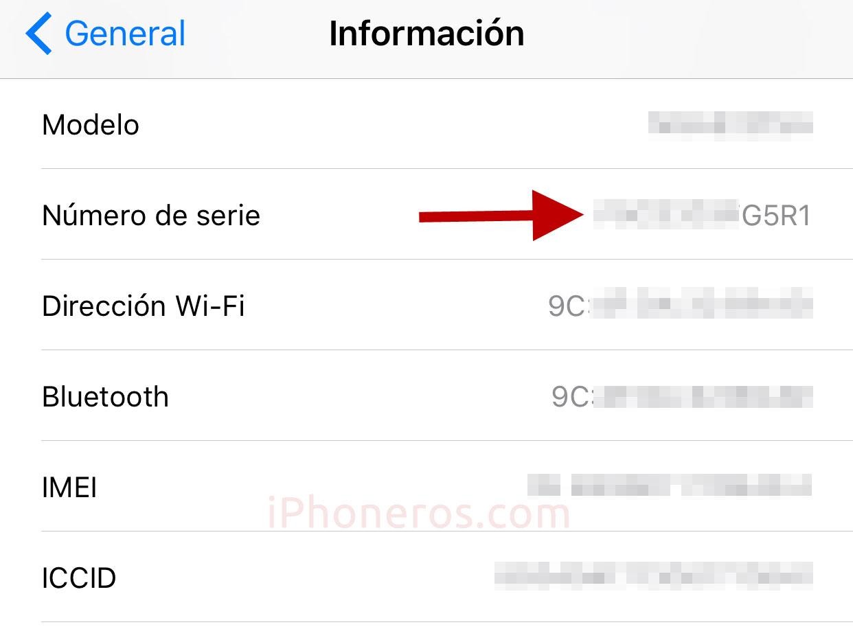 Número de serie de un iPhone
