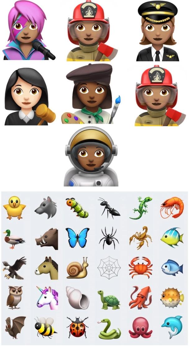 Emojis de profesiones, insectos y animales