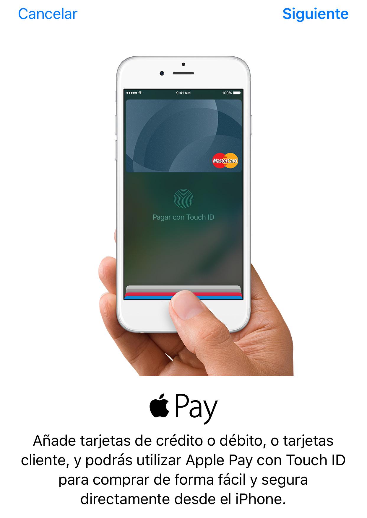 Registro de nueva tarjeta en la App de Wallet