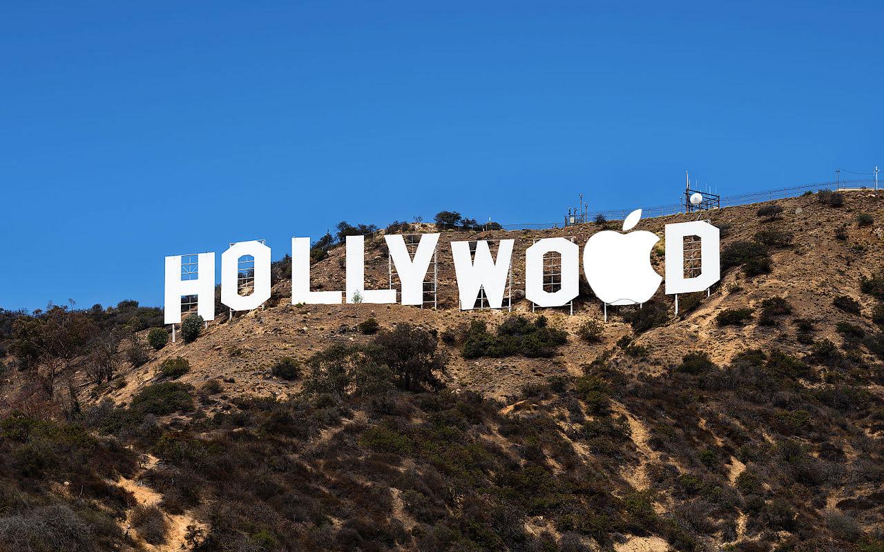 Hollywood con el logo de Apple