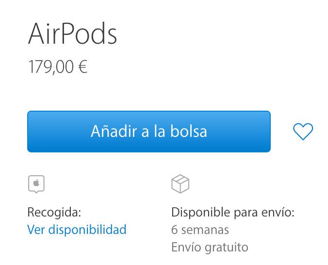 Envío de AirPods en 6 semanas