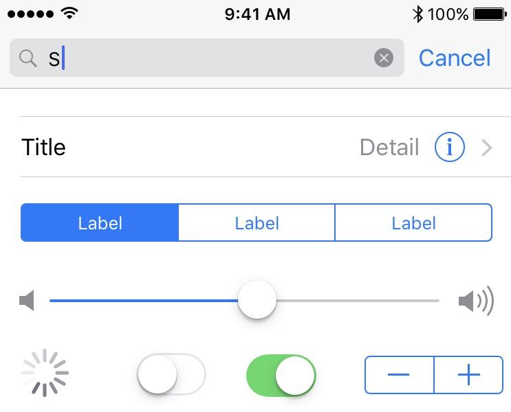 Elementos de la interfaz de iOS