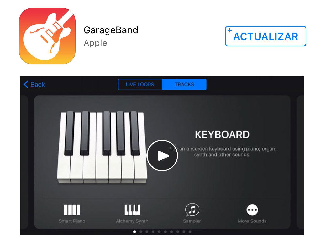 Actualización de Garage Band