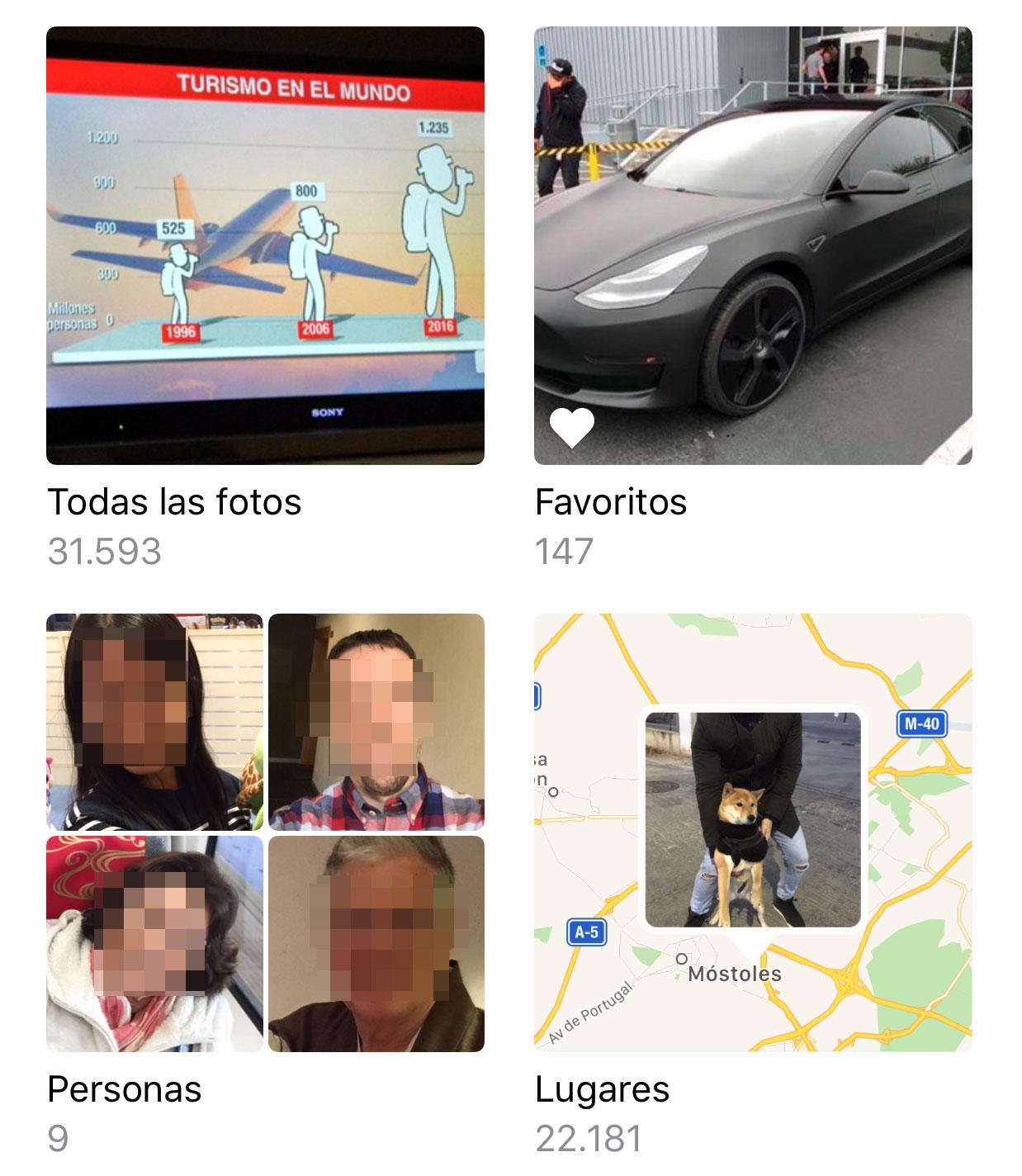 Reconocimiento facial en la App de Fotos