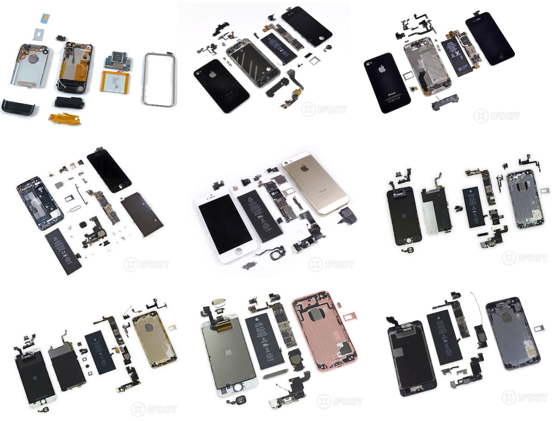 Todos los modelos de iPhone abiertos