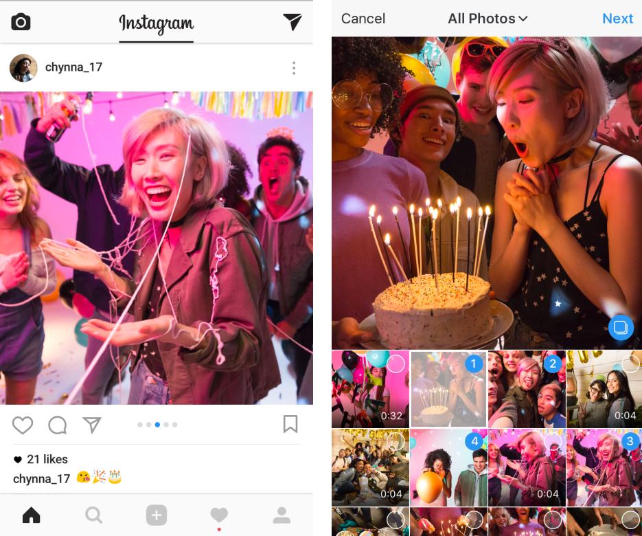 10 fotos o vídeos en Instagram al mismo tiempo