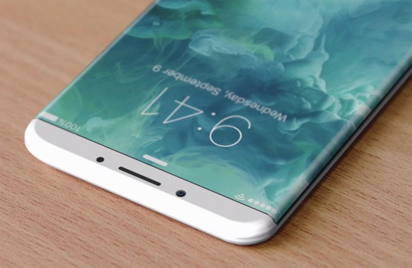 Concepto de diseño iPhone 8 con bordes de pantalla doblados