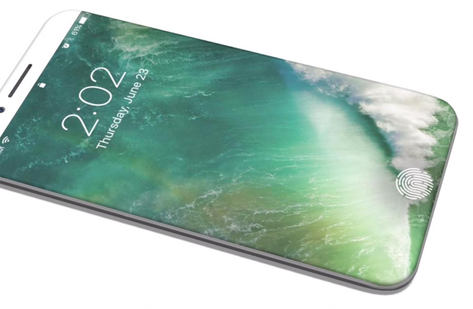 Concepto de diseño iPhone 8 con bordes de pantalla doblados, todo pantalla