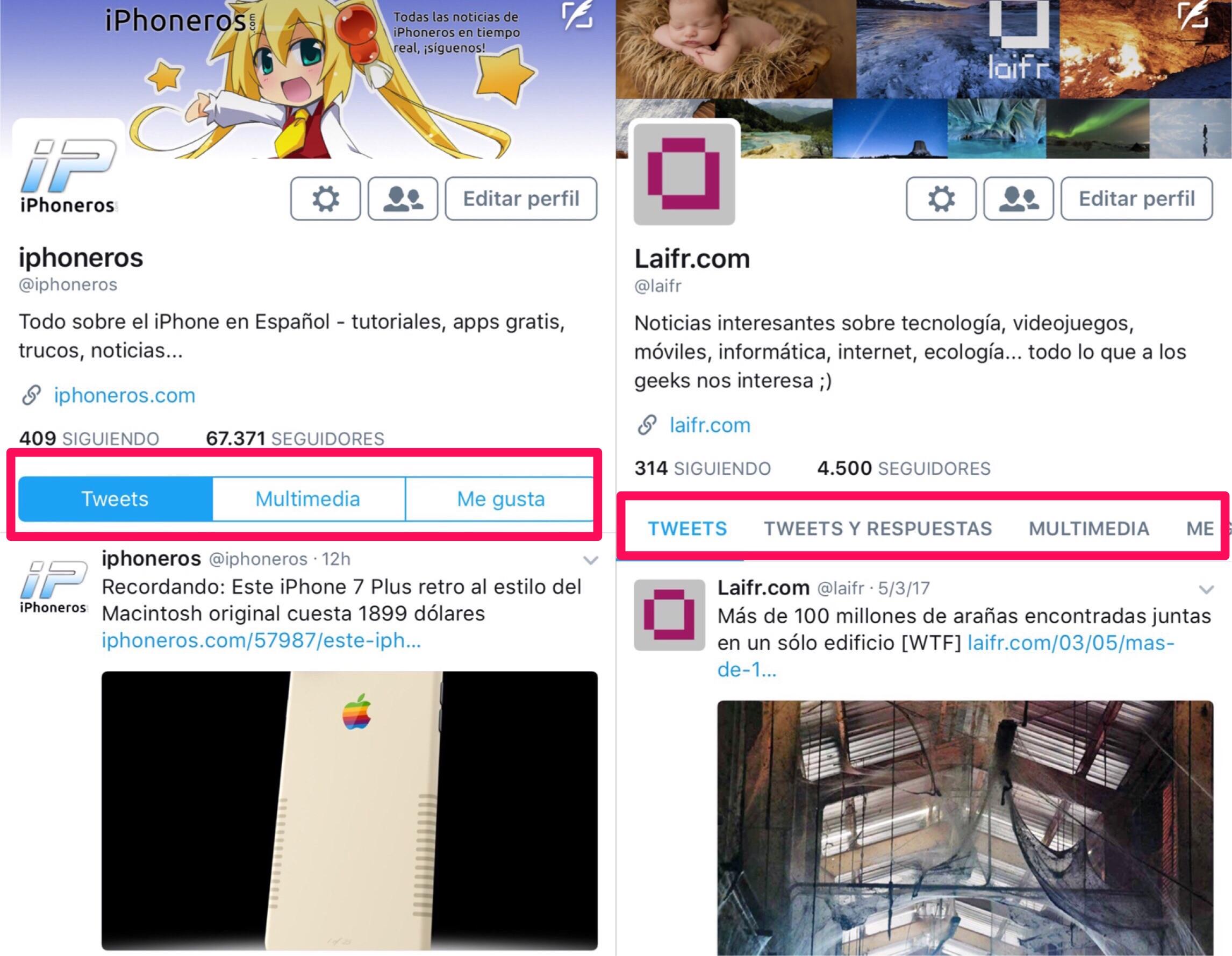 Cambios en la interfaz de la App de Twitter