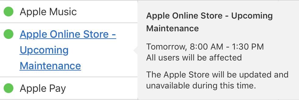 Mantenimientos programados de los servidores de Apple