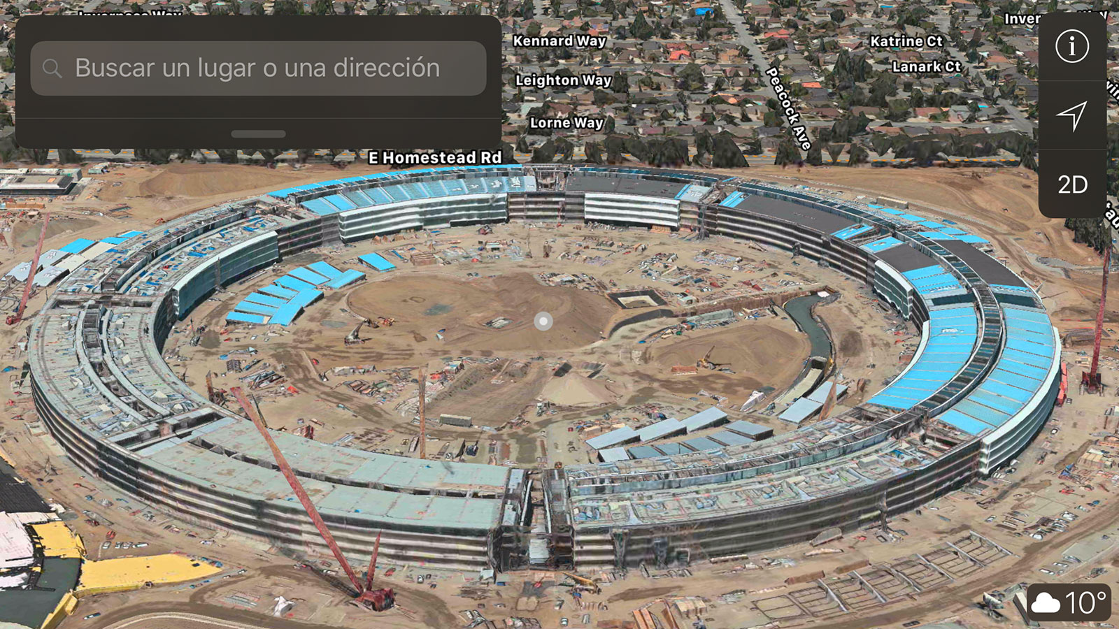 Apple Park en obras en la App de Mapas