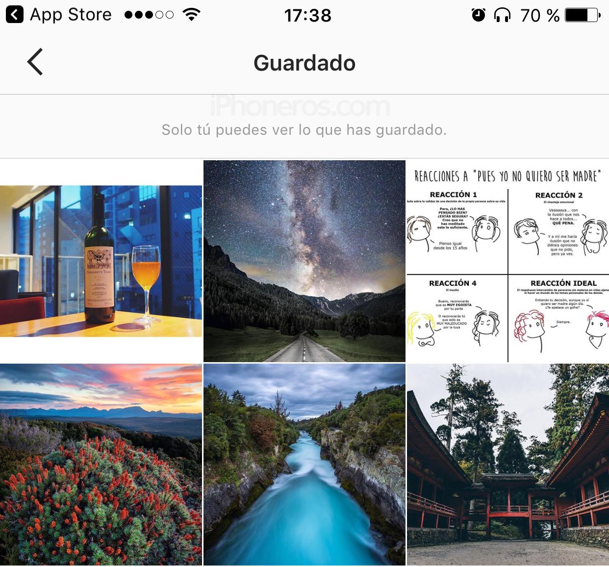 Imágenes guardadas como favoritos en Instagram