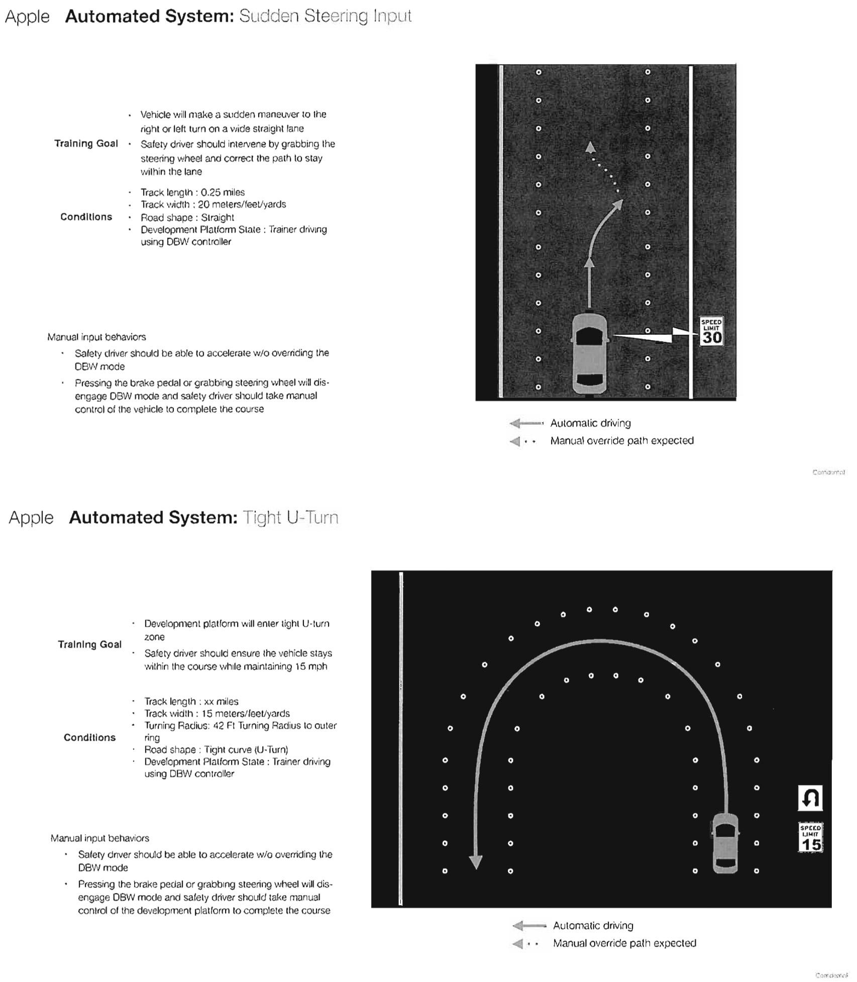 Documento filtrado de Apple que detalla pruebas de conducción para vehículos autónomos
