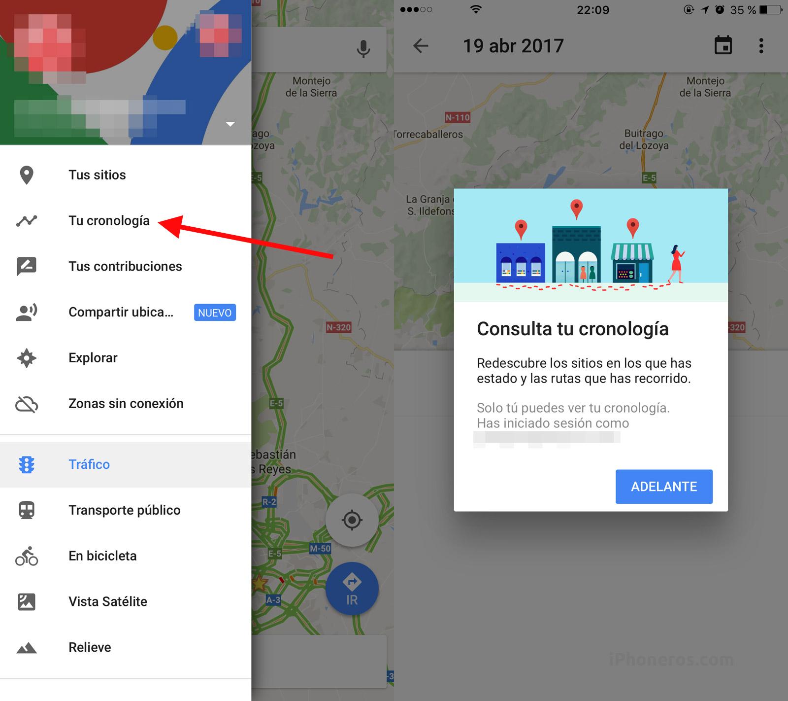 Google Maps con opción de cronología de lugares