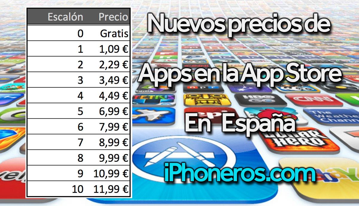 Lista de precios en la App Store española desde Mayo del 2017