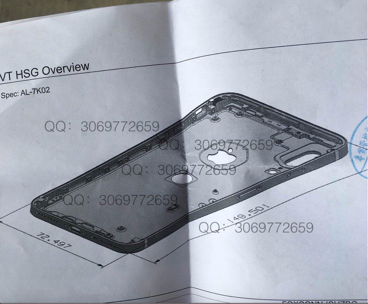 Supuesta carcasa trasera del iPhone 8 con el botón Home detrás